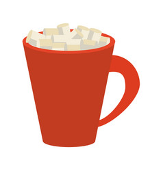 Hot chocolate with marshmallows icon image vector