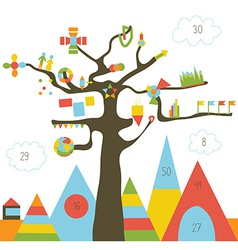 Infographic design with tree and landscape - with vector image vector image