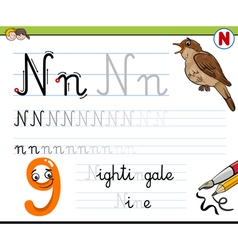 learn to write letter n vector image