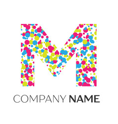 letter m logo with blue yellow red particles vector image vector image