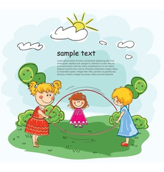 little girls playing vector image vector image