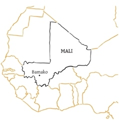 Mali hand-drawn sketch map vector