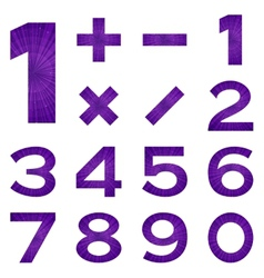 Numbers set violet space vector image vector image