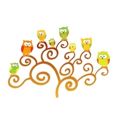 Owls on a tree vector image vector image
