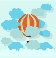 Paper hot air balloon with cloud cardboard texture vector
