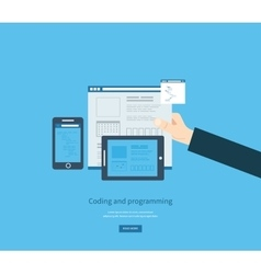 Programming and coding Web development and search vector image