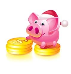 Santa piggy bank vector image vector image