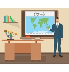 School Geography male teacher in audience class vector image