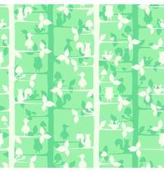 Seamless pattern with trees and forest birds and vector