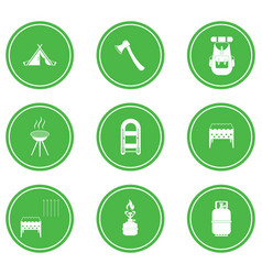 set of camping equipment icons vector image vector image