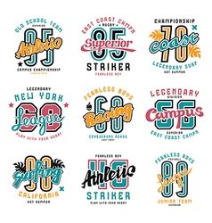 Set of sport emblems surfing racing rugby vector image vector image