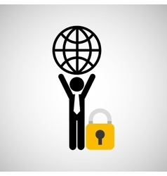 Silhouette man globe carrying globe protection vector