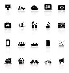 Social network icons with reflect on white vector image vector image