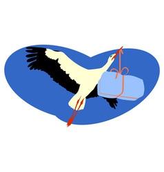 Stork delivering a package vector