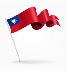 taiwan pin wavy flag vector image