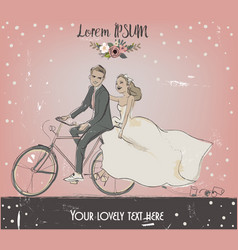 The bride and groom on bike vector