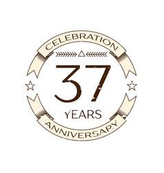 thirty seven years anniversary celebration logo vector image