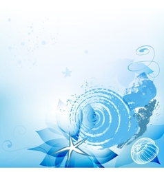 Sea background with shells vector image