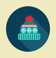 Winter hat icon in flat desing vector