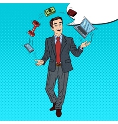 Pop art businessman juggling computer phone vector