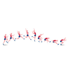 sequential icons of athlete doing jump isolated on vector image