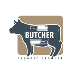 Butchery logotype sign with cow and two meat vector