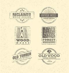 reclaimed wood design element creative set of vector image