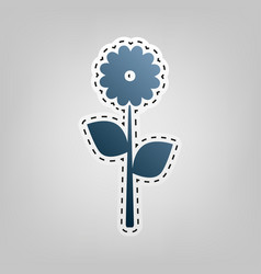 Flower sign   blue icon with vector