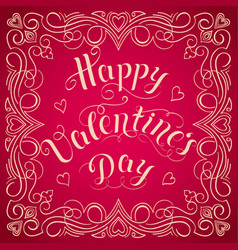 Happy valentines day card with elegant floral vector