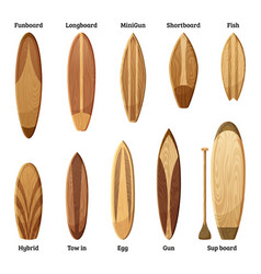 Different sizes and designs of wood surfboards vector