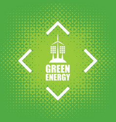 Green energy with wind turbines and solar panels vector
