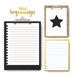 Set of clipboard with lined paper mock up vector
