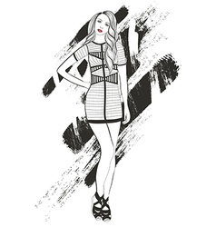 Young girl fashion vector