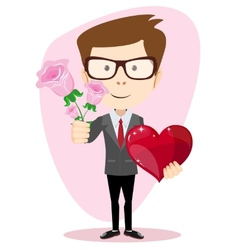 Young man holding a rose and heart vector