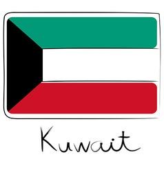 Kuwait flag doodle vector image