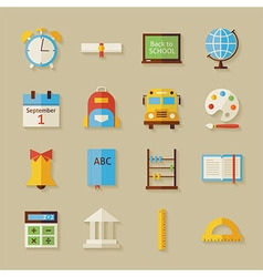 Flat back to school objects set with shadow vector