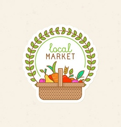 Linear badge - local market vector