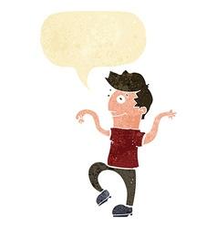 cartoon happy man doing funny dance with speech vector image