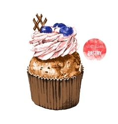 Hand drawn cupcake in color vector