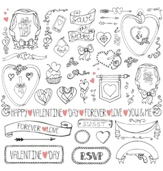 Valentine daywedding iconframesribbon decor set vector