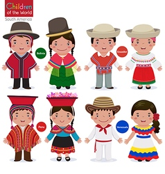 Kids in different traditional costumes bolivia vector