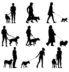 Set ilhouette of people and dog vector