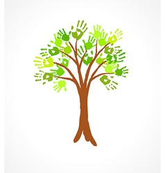 Green tree with leaves made of handprint vector image