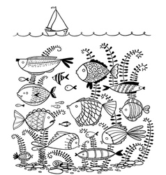 cute line art doodle with underwater fishes vector image