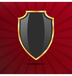 Metallic black golden shield on red background vector