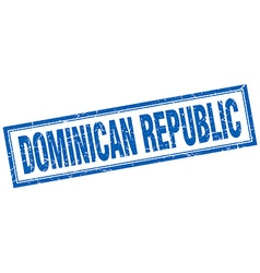 Dominican republic blue square grunge stamp on vector