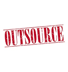 Outsource red grunge vintage stamp isolated on vector