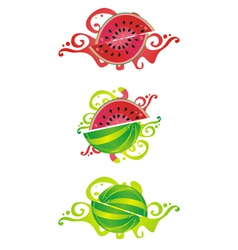 Set of abstract watermelon vector