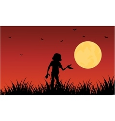 Halloween zombie silhouette on red backgrounds vector