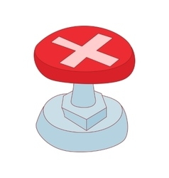 Red button with cross sign icon cartoon style vector